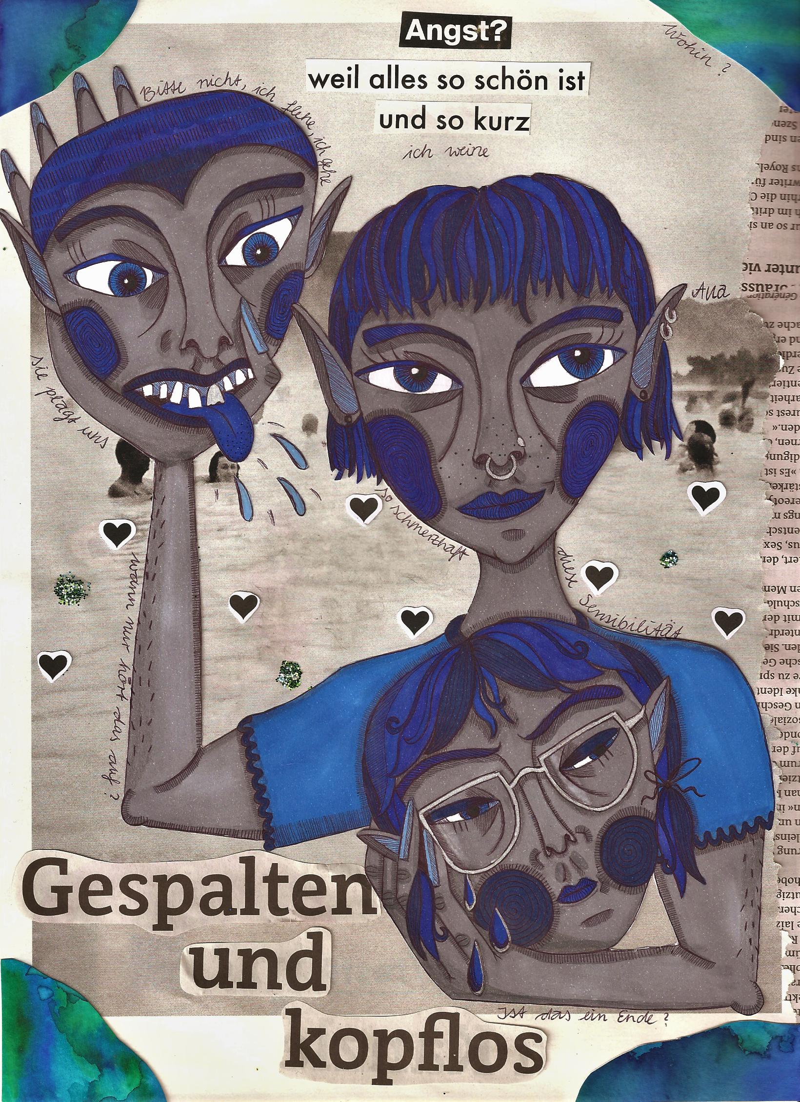 Collage: Gespalten und kopflos